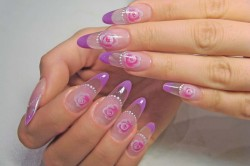 Аквариумный дизайн ногтей с розами