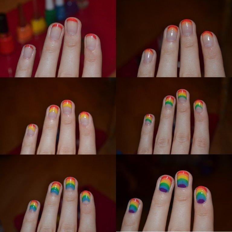 маникюр фото радуга
