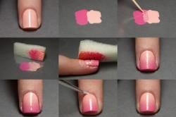 Этапы нанесения маникюра при помощи губки