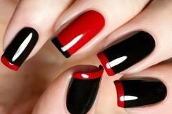 Черно-красный маникюр на длинных ногтях