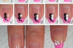 Этапы нанесения рисунка с кошками на ногти
