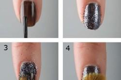 Этапы нанесения глиттера на ногти кисточкой