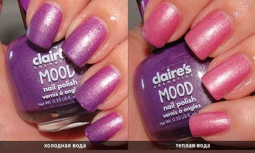 Ногти, накрашенные лаком, меняющим цвет от температуры