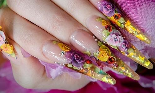 Лепка на ногтях с помощью акрила