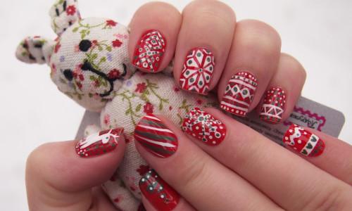 Новогодние узоры на ногтях