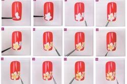 Рисование цветов на ногте