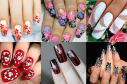Варианты рисунков на ногтях иголкой