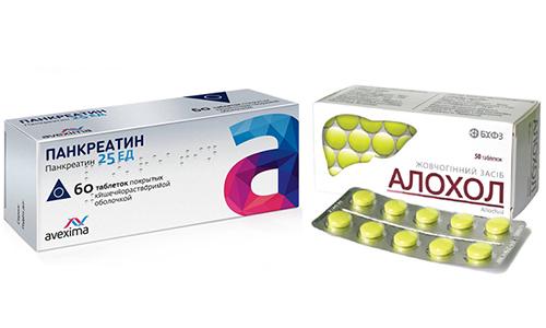 Чтобы улучшить работоспособность органов пищеварительного тракта применяют Аллохол и Панкреатин