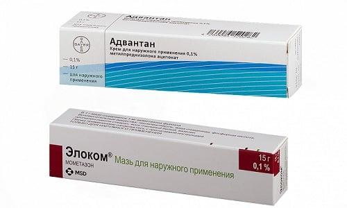 Адвантан и Элоком назначаются при терапии кожных патологий