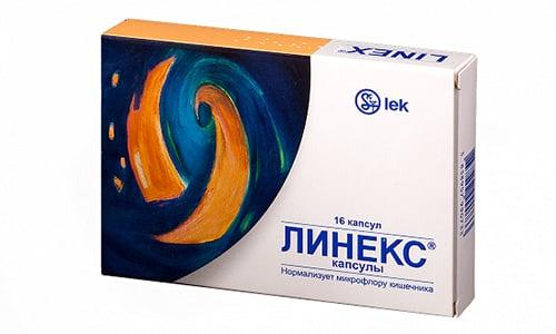 Линекс назначают в комбинации с антибиотиками или синтетическими противомикробными медикаментами, чтобы не допустить развития дисбактериоза
